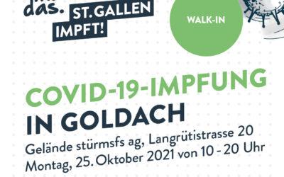 Impfen in Goldach: ohne Voranmeldung, ohne Kosten!